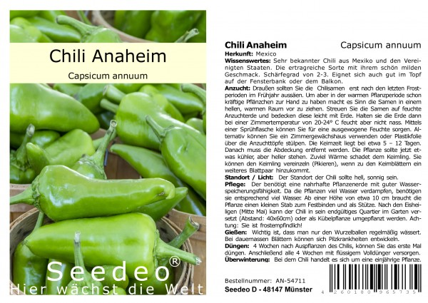 Seedeo® Chili Anaheim (Capsicum annuum) 20 Samen