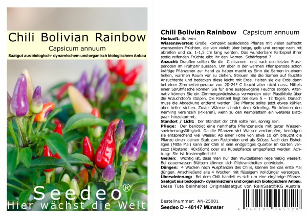Seedeo® Chili Bolivian Rainbow (Capsicum annuum) 10 Samen
